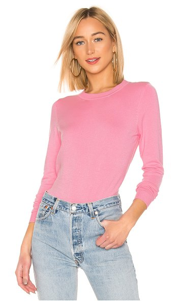 525 America Ribbed Crew Neck Pullover in pink - 80% rayon 20% nylon. Hand wash cold. Knit fabric. Ribbed...
