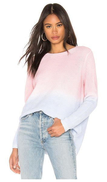 525 America Shaker Ombre Sweater in pink - 100% cotton. Hand wash cold. Knit fabric. Side slits....