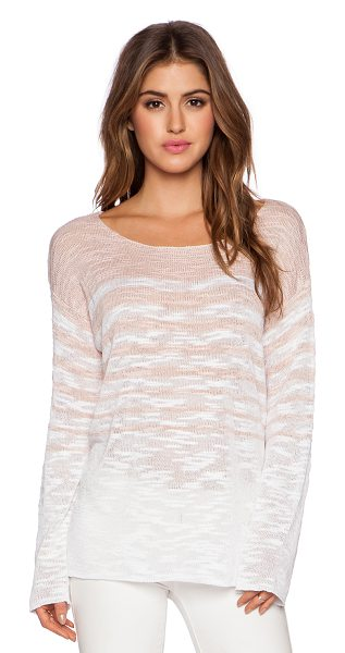 525 America Stripe boat neck longsleeve top in blush - 57% viscose 25% linen 18% poly. Dry clean only. Side...