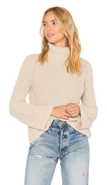 525 America Turtleneck Bell Sleeve Sweater in beige - 100% cotton. Hand wash cold. Knit fabric. 525A-WK188....