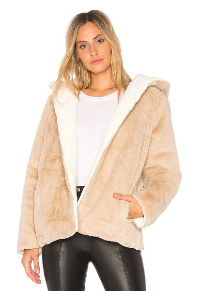 525 AMERICA Vegan Fur Reversible Jacket - 100% poly. Dry clean only. Faux fur. Open front....