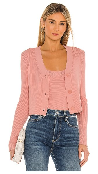 525 rib cropped v neck cardigan in pink sand