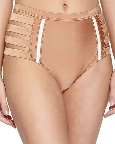 6 Shore Road Metallic strappy high-waist swim bottom in shimmer copper - 6 Shore Road by Pooja swim bottom in metallic microfiber...