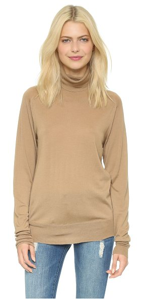6397 Turtleneck sweater in camel - A lightweight, fine gauge 6397 turtleneck sweater in a...