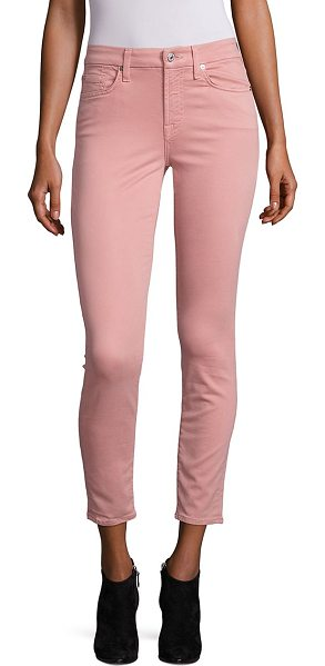 7 For All Mankind ankle skinny sateen jeans in pinkrose - Satiny ankle-length jeans in a skinny silhouette. Belt...