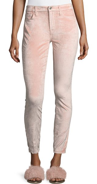 7 For All Mankind Ankle Skinny Velvet Pants in pink - 7 For All Mankind velvet pants with subtle stretch. Sits...