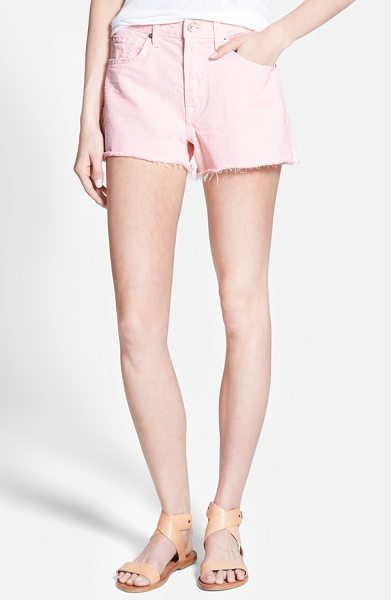 7 For All Mankind cutoff shorts in whisper pink - Punky cutoff hems accentuate the flirty, leg-baring...