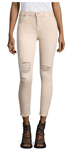 7 FOR ALL MANKIND distressed ankle skinny jeans - Distressed skinny style with a touch of stretch. Belt...