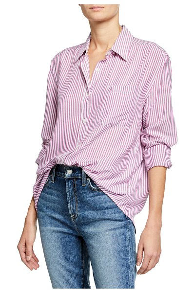 7 For All Mankind High-Low Tie Long-Sleeve Button-Front Striped Shirt in electric pink/wht