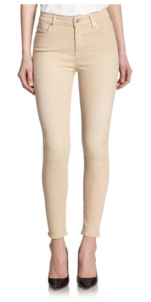 7 For All Mankind High waist ankle skinny jeans in buff - Colored denim crafted in a body-hugging, ankle...