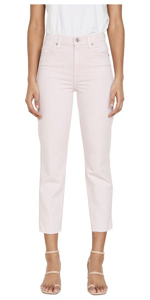 7 For All Mankind high waist cropped straight jeans in mineral pink