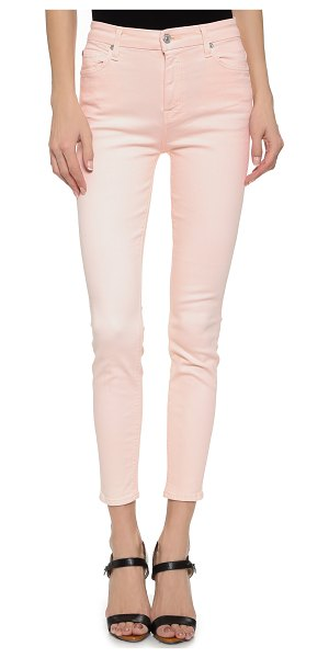 7 For All Mankind High waisted ankle skinny jeans in crystal pink - Pastel denim puts a charming finish on these 7 For All...