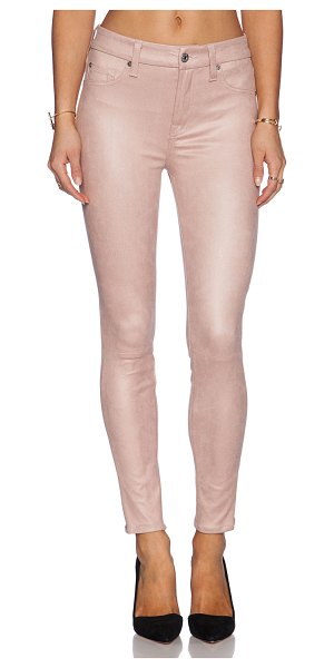 "7 For All Mankind Knee seem skinny in blush - 90% poly 10% spandex. 12"""" in the knee narrows to 10""""..."