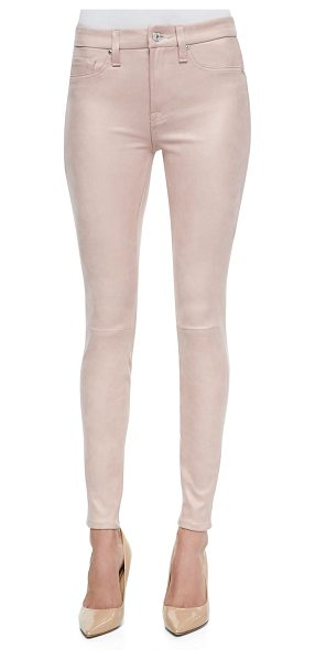 7 For All Mankind Seamed faux leather skinny pants in dusty pink - 7 For All Mankind faux leather pants. Mid rise. Fitted...
