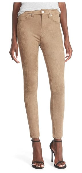 7 For All Mankind snakeskin embossed faux leather pants in mocha snake - Ankle-length skinny pants flaunt your figure in supple...