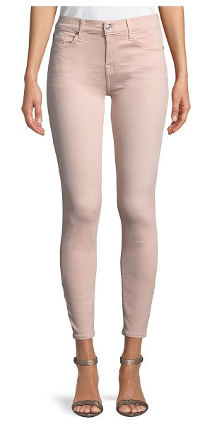 7 For All Mankind The Ankle Skinny Coated Jeans in pink