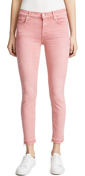 7 FOR ALL MANKIND the ankle skinny with released hem in primrose - Fabric: Super-stretch denim Raw cuffs Skinny silhouette...