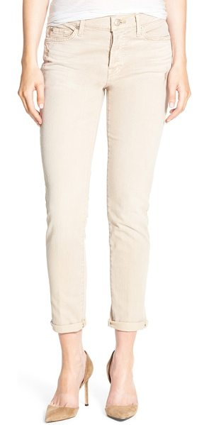 7 For All Mankind 7 for all mankind josefina boyfriend jeans in almond - Threadbare patches lend eye-catching detail to boyfriend...