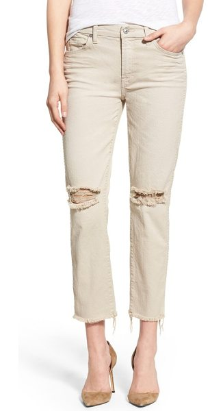 7 For All Mankind 7 for all mankind raw hem ankle straight leg jeans in white sand - Frayed, cropped hems and shredded knees lend lived-in...