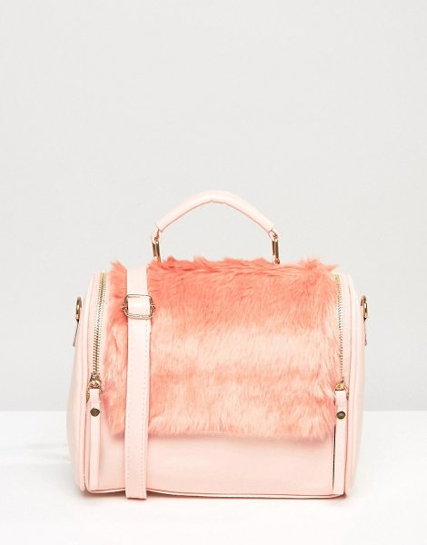 7X Handheld Bag in pink - Cart by 7X, Faux-leather fabric, Faux-fur panels, Lined...