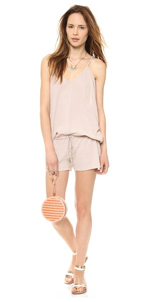 9seed Corsica cover up romper in sand - A drawstring cinches the loose silhouette of this airy...