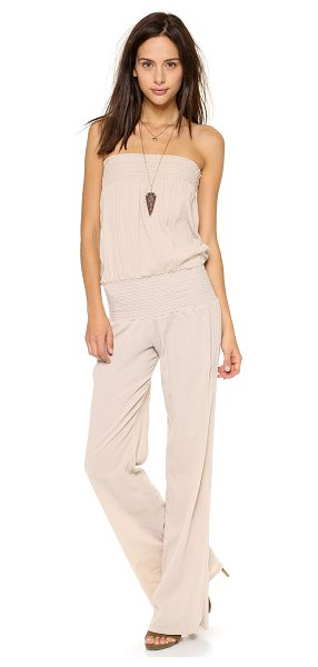 9SEED zuma jumpsuit - Flattering smocked bands support the shoulder-bearing...