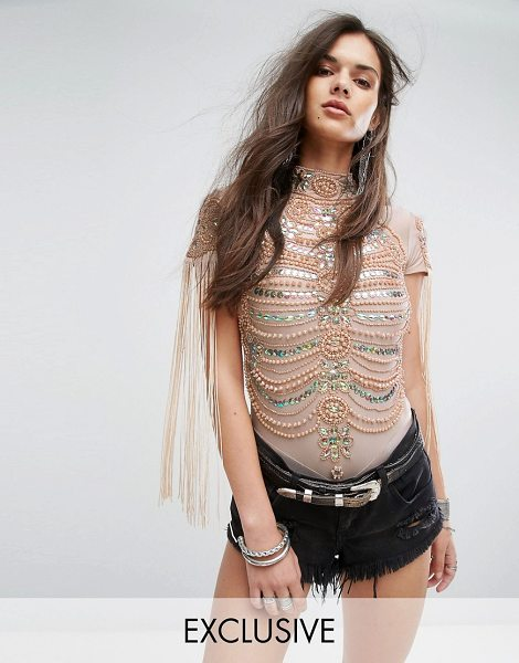 A Star Is Born A Star is Born Going Out High Neck Bodysuit in Iridescent Embellishment and Fringe in beige - Body by A Star Is Born, Smooth stretch fabric, High...