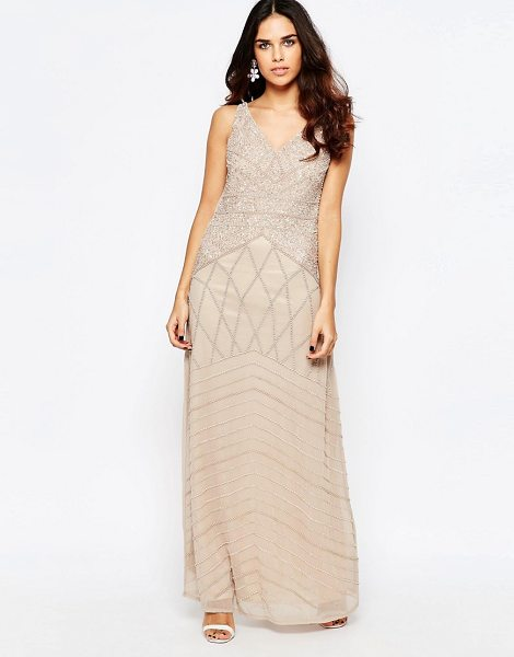 A Star Is Born All Over Embellished Maxi Dress in beige - Maxi dress by A Star Is Born, Lined chiffon, Heavyweight...