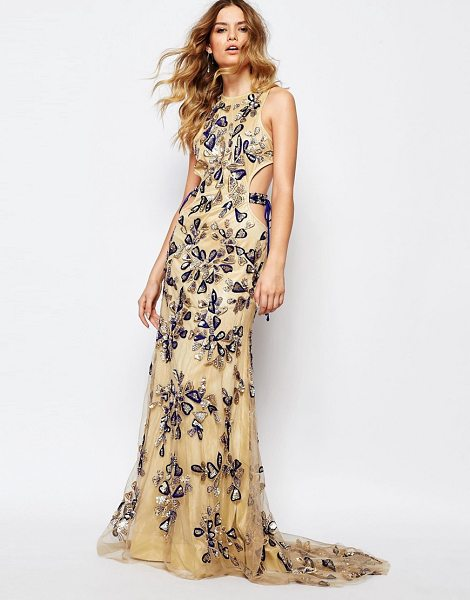 A Star Is Born All over luxe embellished maxi dress with tie sides in nudecobalt - Evening dress by A Star Is Born Woven fabric Fully lined...