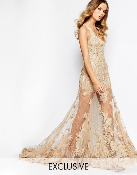 A Star Is Born Allover luxe embellished maxi dress with jewel red carp in tan - Maxi dress by A Star Is Born, Sequin and bead...