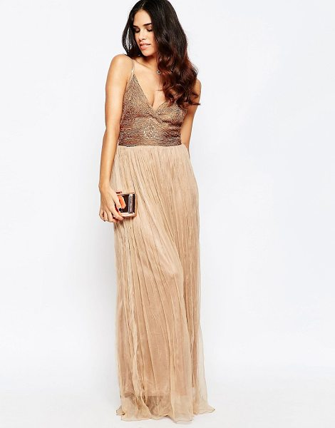 A Star Is Born Cami Maxi Dress With Embellished Detail in beige