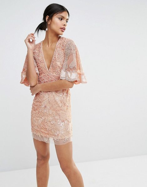 A Star Is Born Embellished Kimono Sleeve Mini Dress in pink - Dress by A Star Is Born, Lined woven fabric, Heavily...