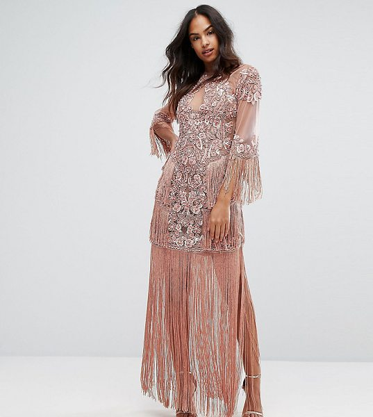 "A Star Is Born Embellished Mesh Maxi Dress With Fringing in pink - """"Dress by A Star Is Born, Embellished mesh, Tassel..."