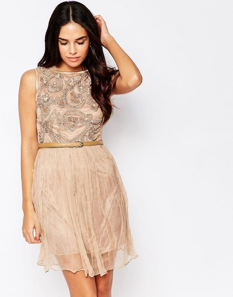 A Star Is Born Embellished Skater Dress in beige - Party dress by A Star Is Born, Lightweight sheer fabric,...