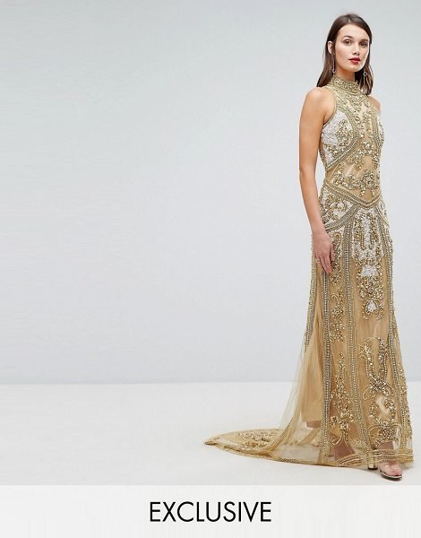 A Star Is Born high neck maxi dress with allover embellishment in gold - Maxi dress by A Star Is Born, Heavily-embellished...