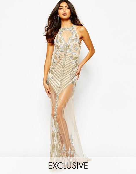 A STAR IS BORN Luxe allover jewel embellished maxi dress in pink - Evening dress by A Star Is Born, Embellished sheer mesh,...