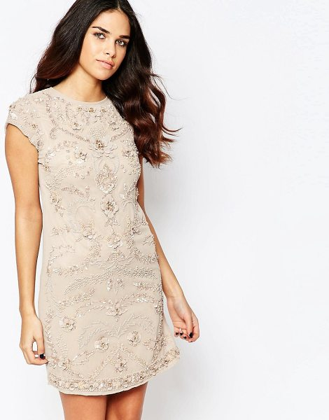 A STAR IS BORN Short sleeve shift dress with embellished detail in nude - Evening dress by A Star Is Born, Lined chiffon, Crew...