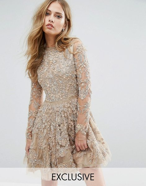 A Star Is Born Skater Dress With Allover Embellishment in pink - Skater dress by A Star Is Born, Heavyweight embroidered...