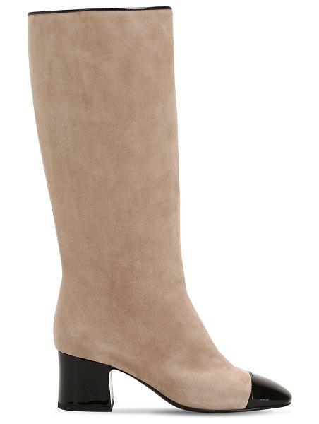 AAND 60mm suede & patent leather tall boots in beige,black
