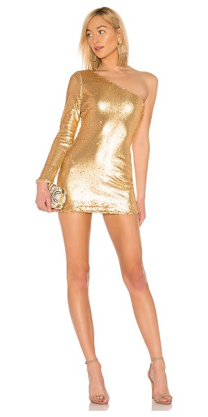 About Us Alec One Shoulder Dress in metallic gold - Self & Lining: 100% poly. Hand wash cold. Fully lined....