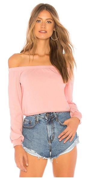 About Us Bella Off Shoulder Sweatshirt in pink - 100% poly. Hand wash cold. Terry fabric. Elasticized...