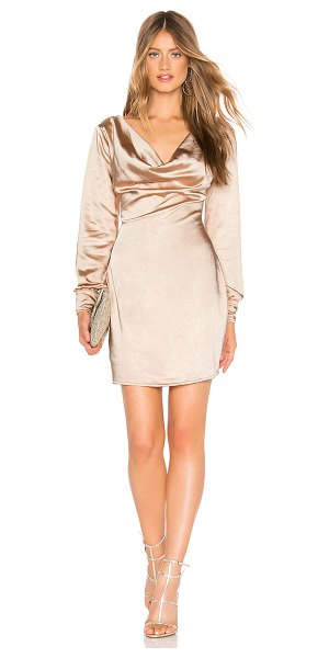 About Us Darcy Dress in metallic gold - 100% poly. Hand wash cold. Fully lined. Draped neckline....