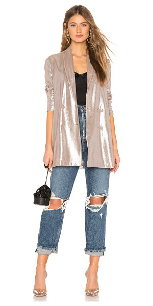 About Us Matilda Metallic Blazer in metallic silver - 95% poly 5% spandex. Hand wash cold. Faux suede fabric...