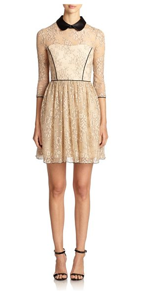 Abs By Allen Schwartz Collared lace contrast dress in nude - A contrast satin collar and piped trim add structure to...