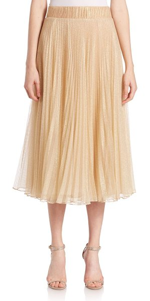 ABS BY ALLEN SCHWARTZ Metallic tulle pleated circle skirt - Midi skirt in pleated metallic tulleElasticized...