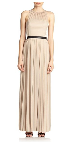 Abs By Allen Schwartz Pleated gown in taupe - Contrast waist lends flattering shape to pleated...