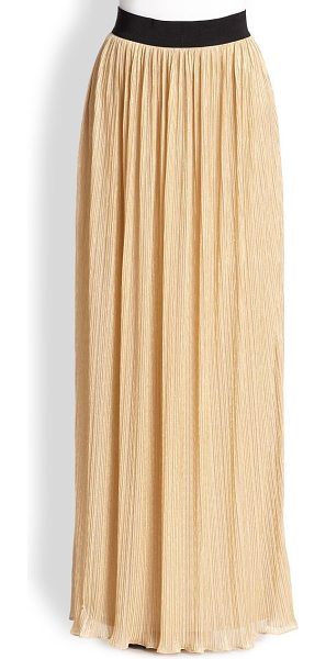Abs By Allen Schwartz Pleated mesh maxi skirt in gold - Pleated mesh adds fluid movement to this sweeping full...