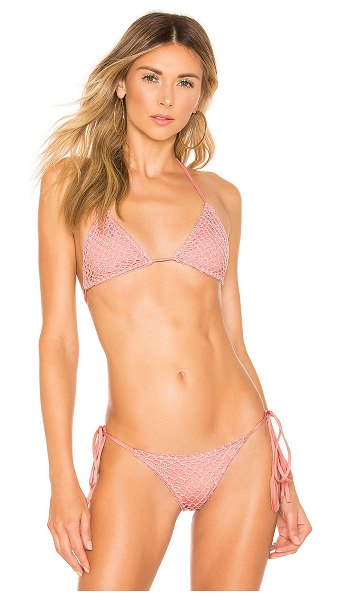 Acacia Swimwear Crochet Humuhumu Top in rose - Self: 73% nylon 27% spandexLining: 85% nylon 15%...