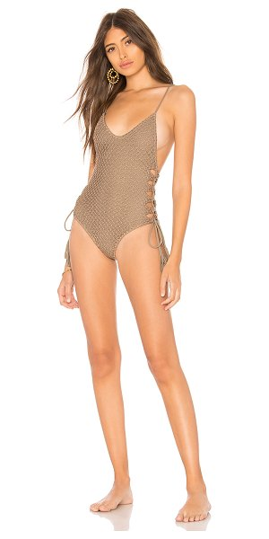 Acacia Swimwear Florence Crochet One Piece in taupe - Self: 80% nylon 20% spandexLining: 85% nylon 15%...