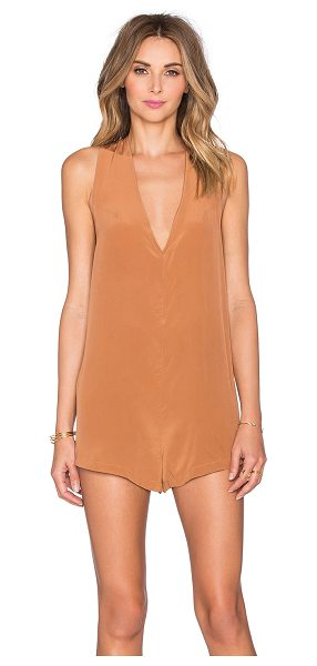 Acacia Swimwear Haiku romper in tan - 100% silk. Dry clean only. Back button closure....
